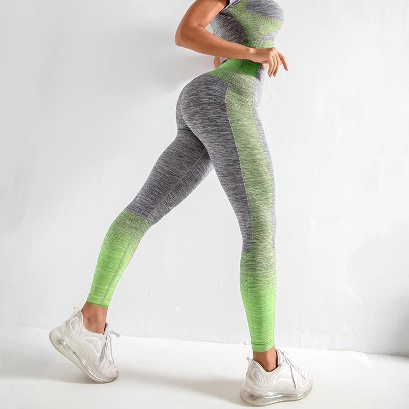 B|Fit ENERGY Quarter-Sleeved Crop - Grey/Lime Green - At Boujee's