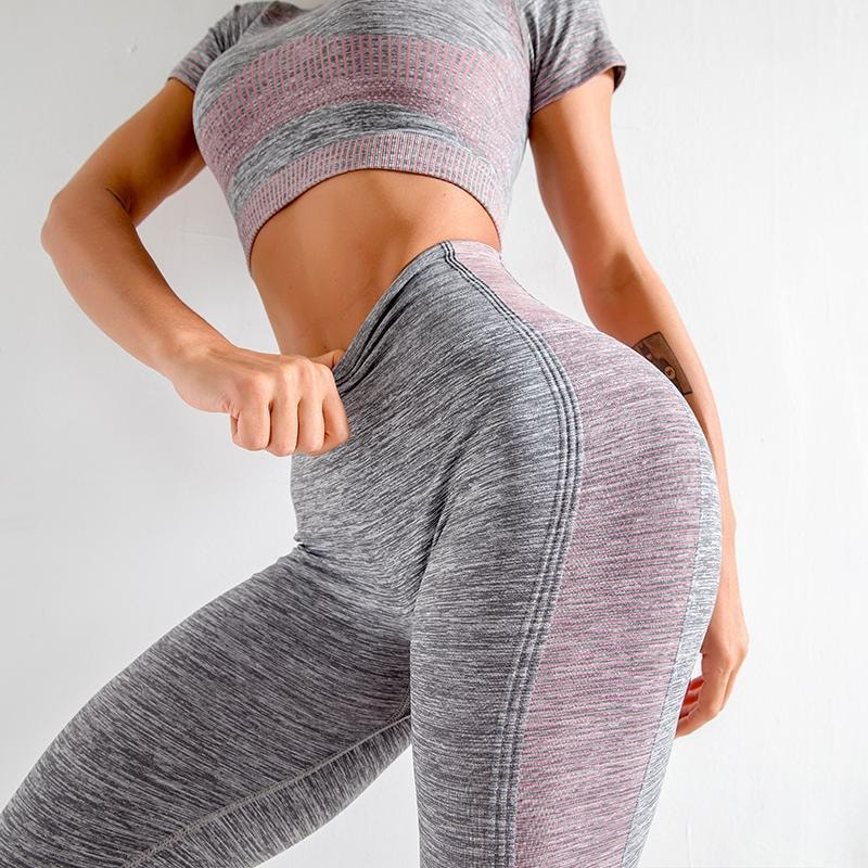 B|Fit ENERGY Quarter-Sleeved Crop - Grey/Pink - At Boujee's