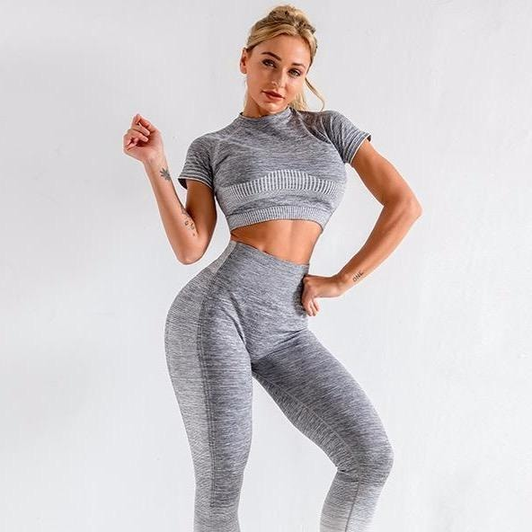 B|Fit ENERGY Quarter-Sleeved Crop - Grey/White - At Boujee's