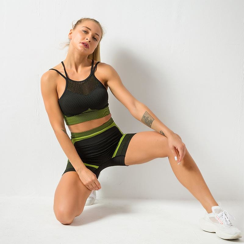 B|Fit MOMENTUM Mesh Sports Crop - Lime/Black