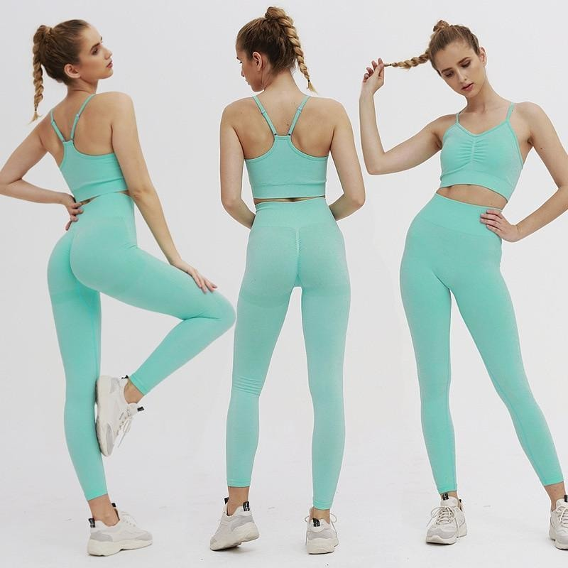 B|Fit TEMPO Sports Crop - Seafoam Blue - At Boujee's