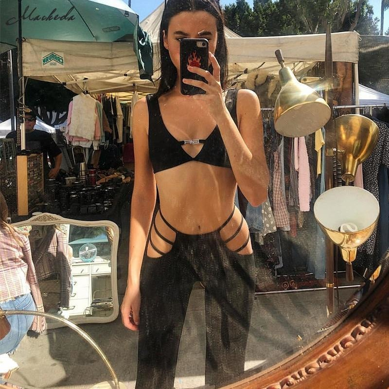 Black Cut Out Holes Flare Pants - At Boujee's
