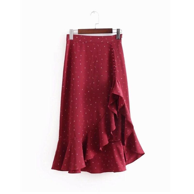 Button Burgundy Skirt - At Boujee's