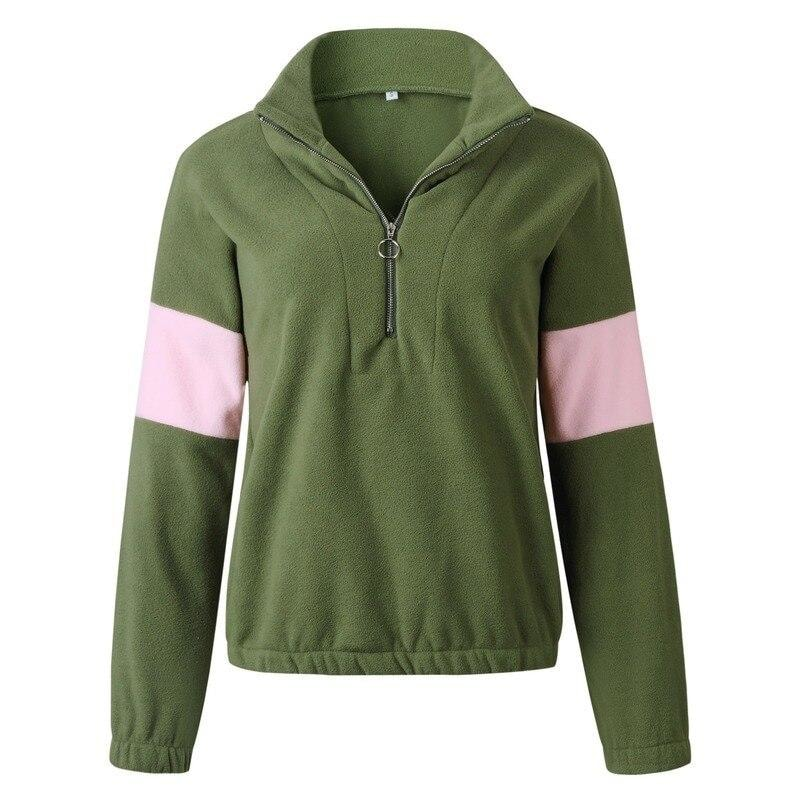 Casual Fleece Zip Up Sweater