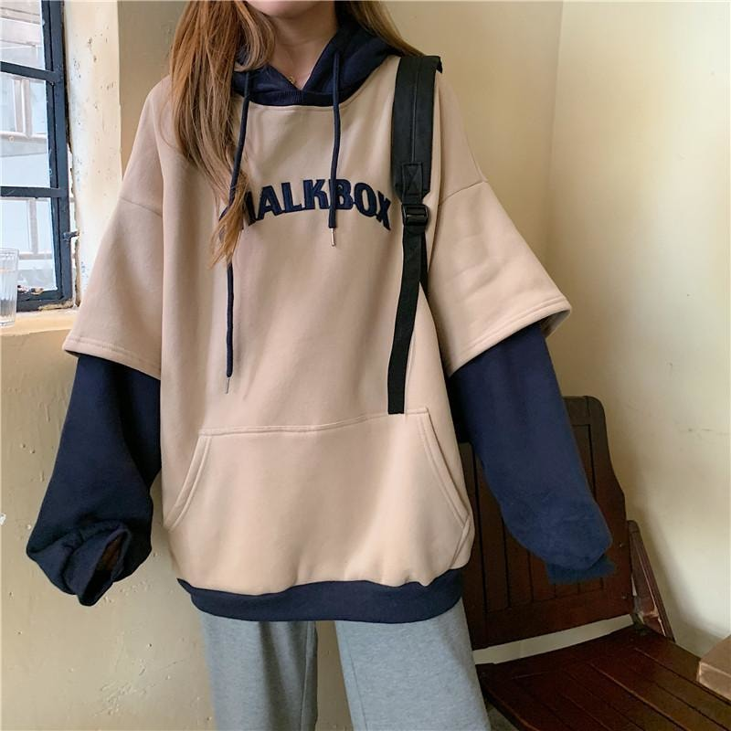 Chalkbox Double Layer Hoodie - M / Apricot