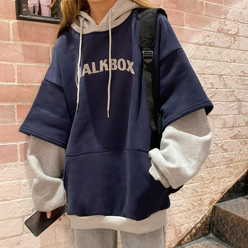 Chalkbox Double Layer Hoodie - M / Navy Blue