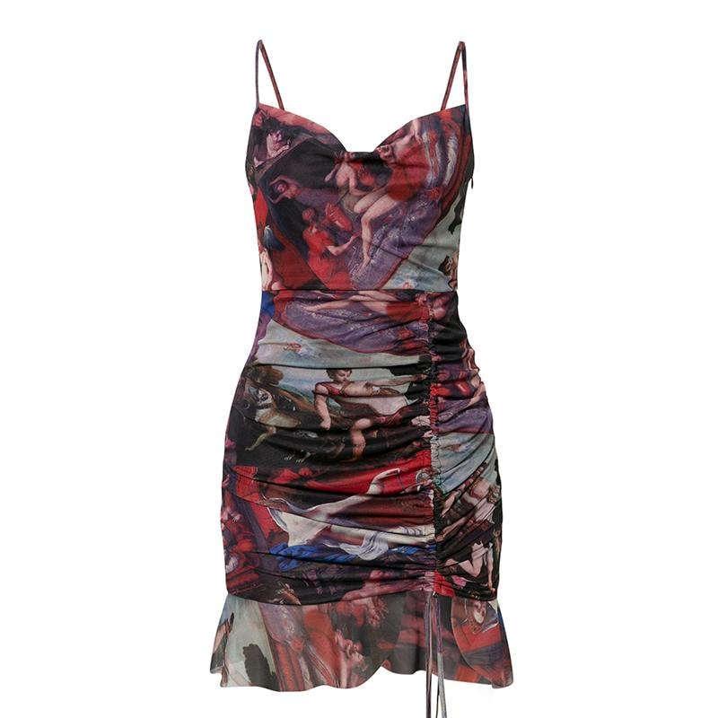Darcy Mesh Print Mini Dress - S / Multi