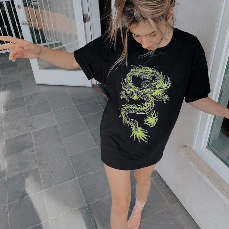Dragon Print Oversized t-Shirt - At Boujee's