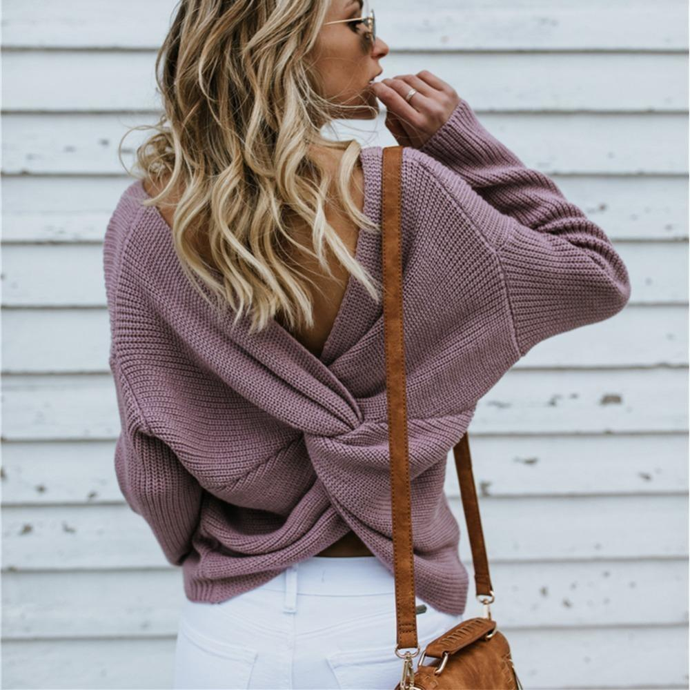 Eimi Sexy Backless Sweater - At Boujee's