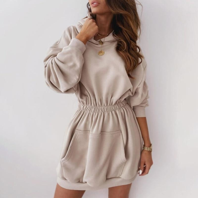 Elastic Waist Hooded Dress