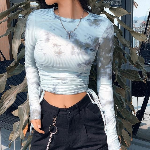 Felice Tie Dye Top - Sky Blue - At Boujee's