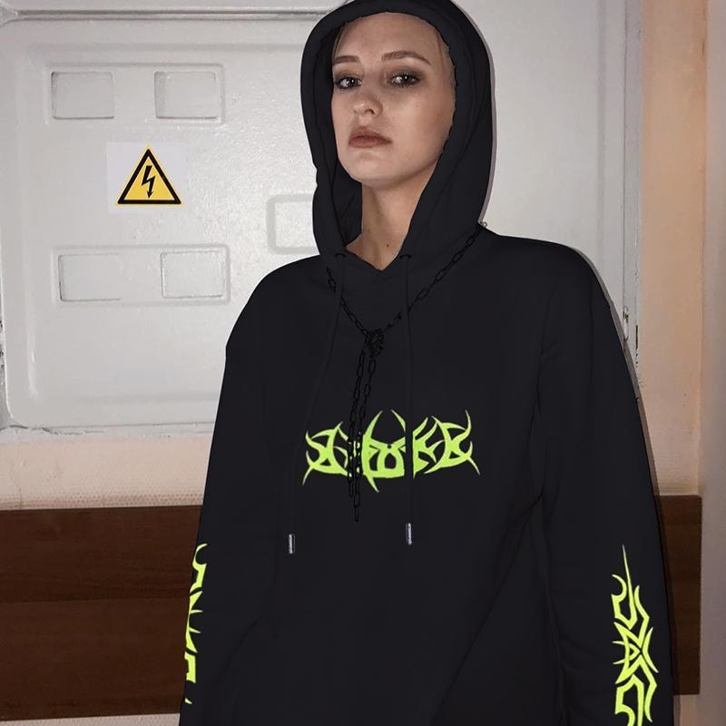 Fluorescence Letter Print Hoodie - At Boujee's