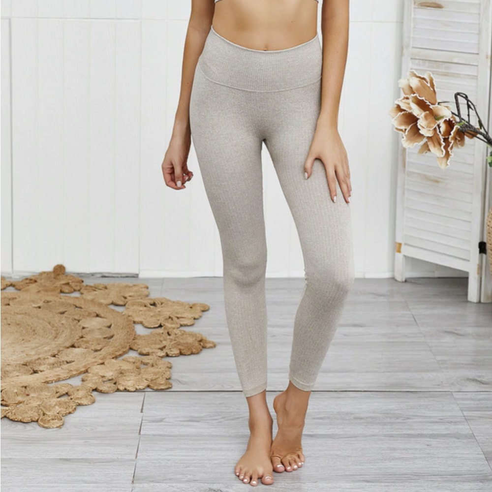 Hanna Seamless Ribbed Legging - Khaki - At Boujee's