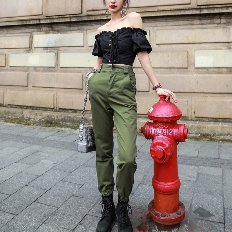 High Waist Cargo Pants - At Boujee's