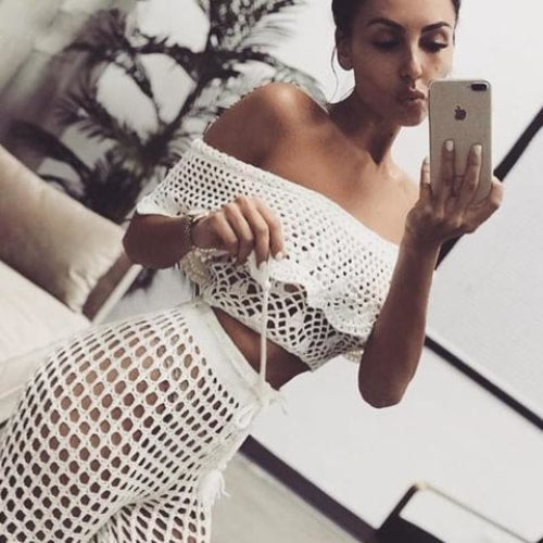 High Waist Crochet Trousers - At Boujee's