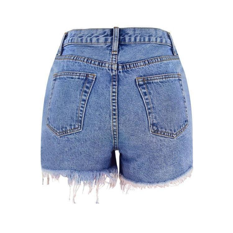 High Weist Denim Shorts - At Boujee's