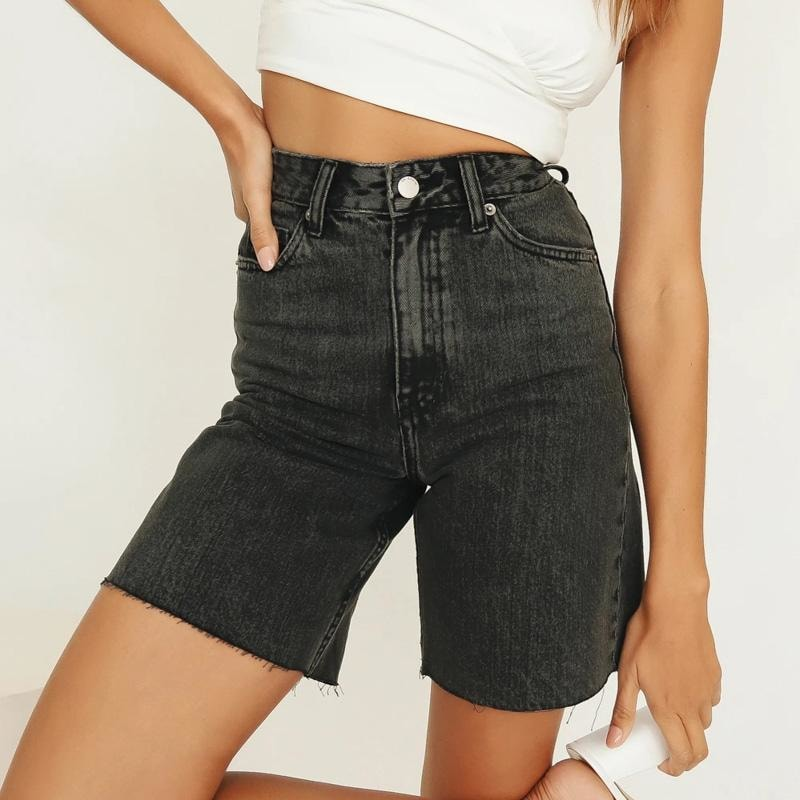 High Waist Jeans Shorts - At Boujee's
