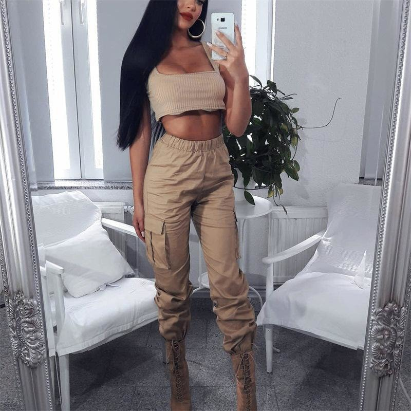 High Waist Side Big Pocket Cargo Pants - At Boujee's