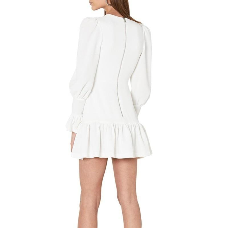 Kaya V-Neck Ruffles Mini Dress - At Boujee's