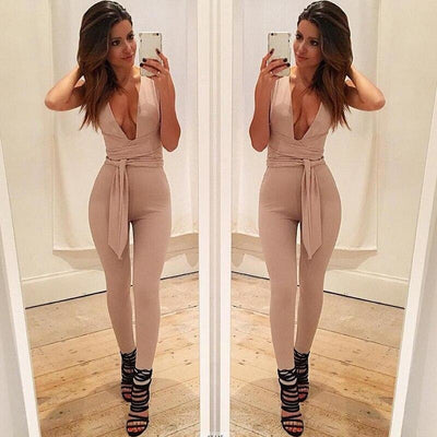 Kayla V Fitted Sexy Jumpsuit - At Boujee's