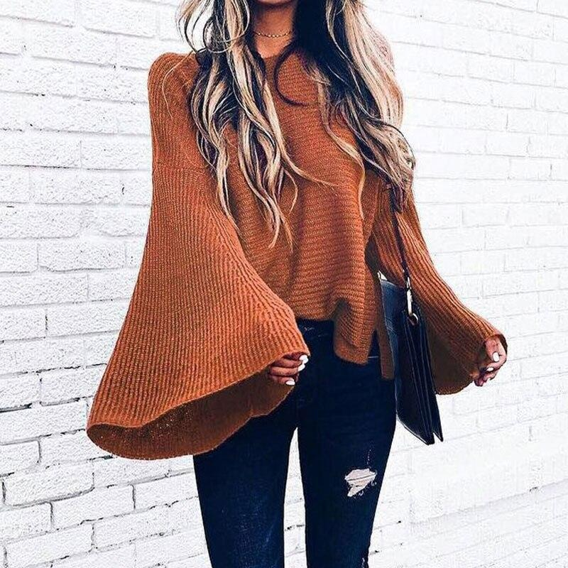 Knitted Bat Sleeve Sweater