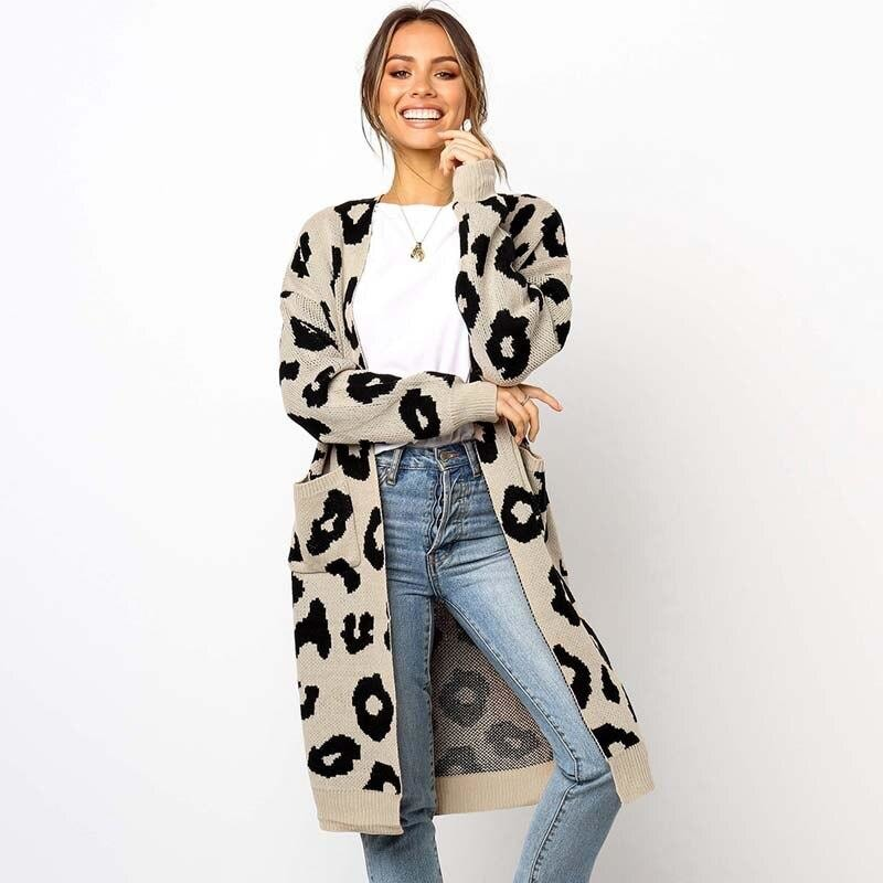 Knitted Leopard Print Cardigan
