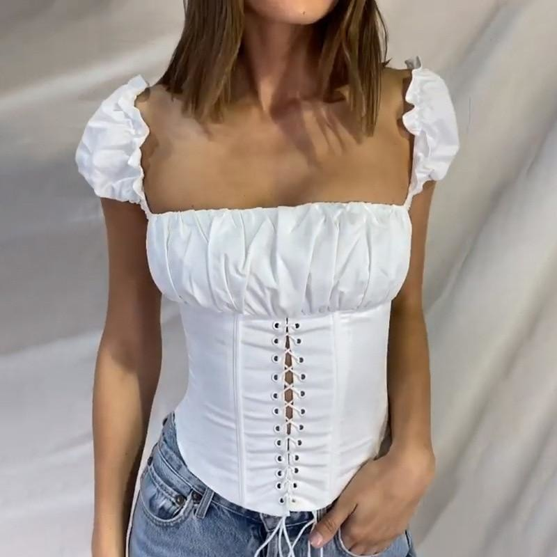 Lace Up Corset Top - At Boujee's