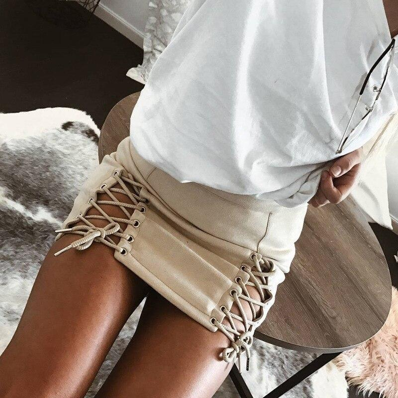Lace Up Suede Skirt - beige / S