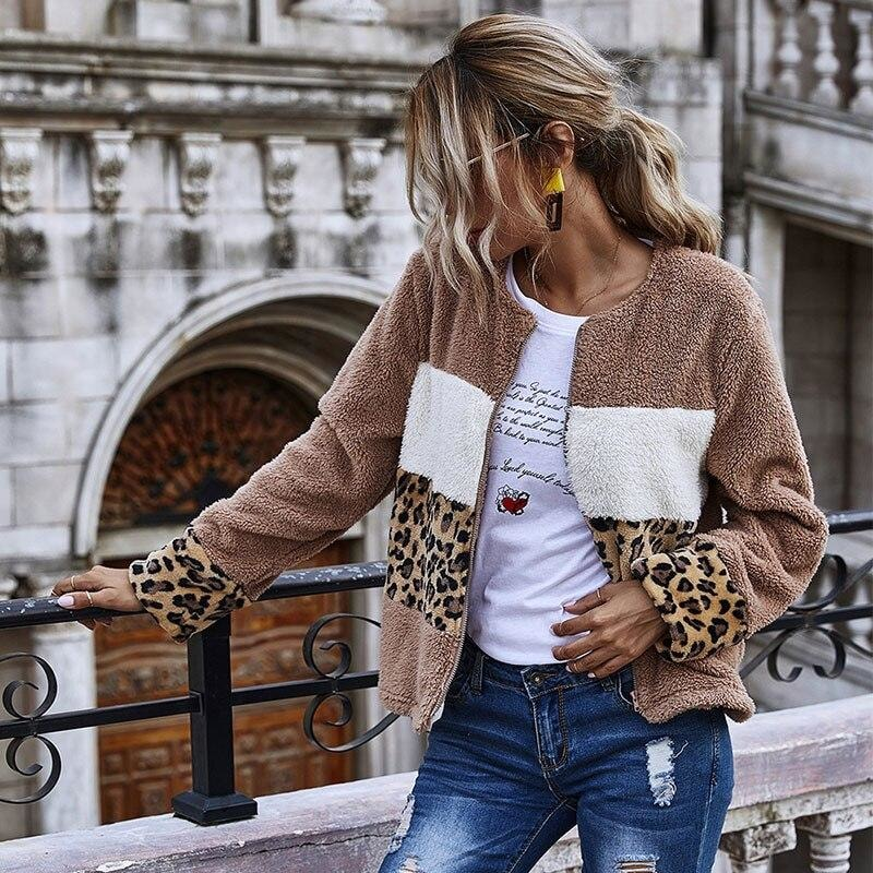 Leopard Patchwork Plush Jacket