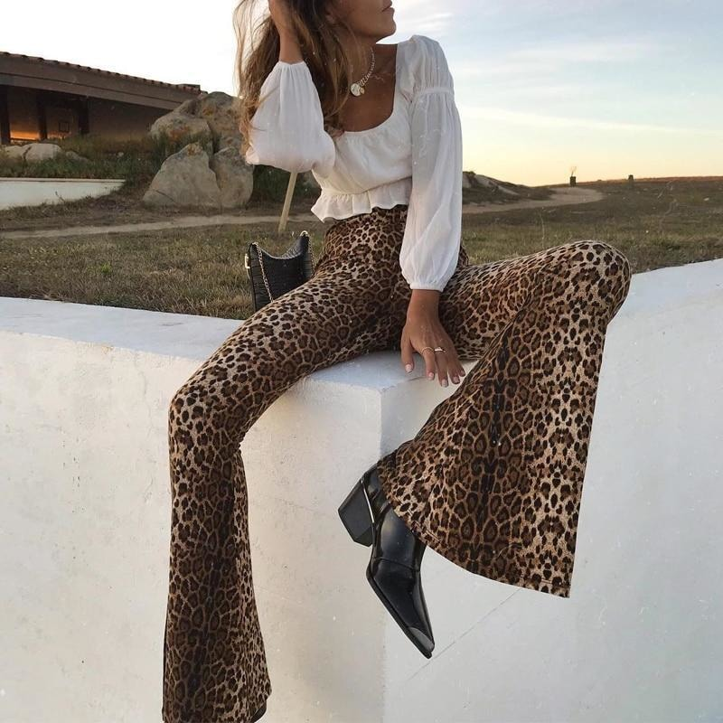 Leopard Print Flared Trousers - At Boujee's