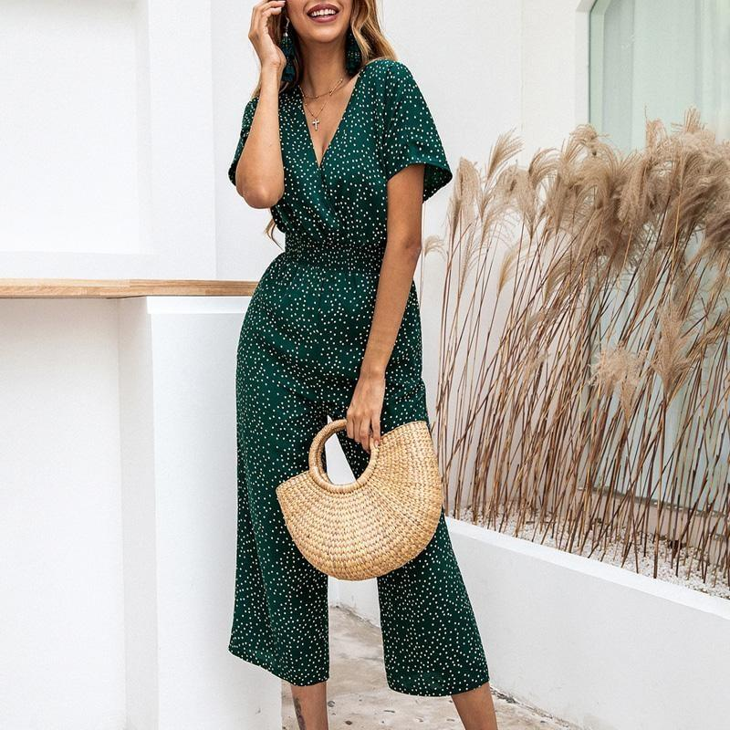 Loose Dotted Jumpsuit - Green / S