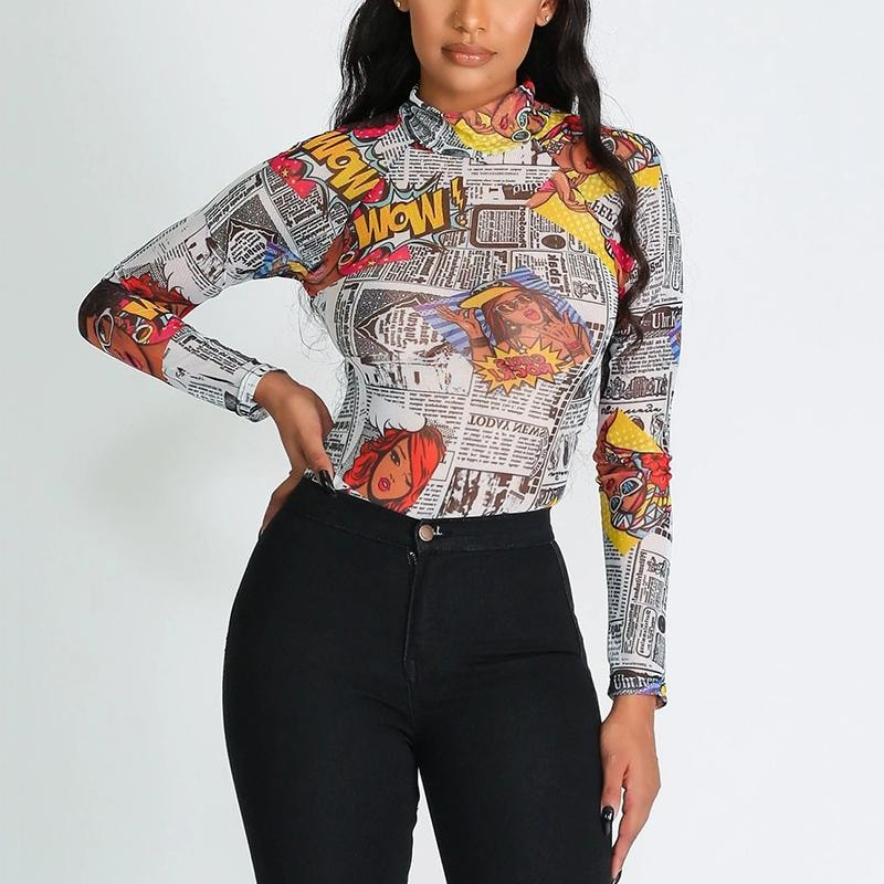 Maddie Bodycon Print Bodysuit - At Boujee's
