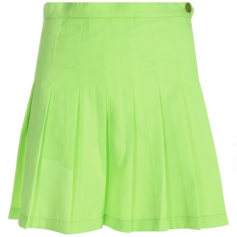 Casual A-line Harajuku Neon Green Pleated Skirt - At Boujee's