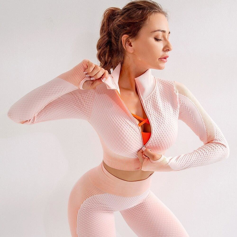Nova MOMENTUM Zip Crop - Peaches and Cream - At Boujee's