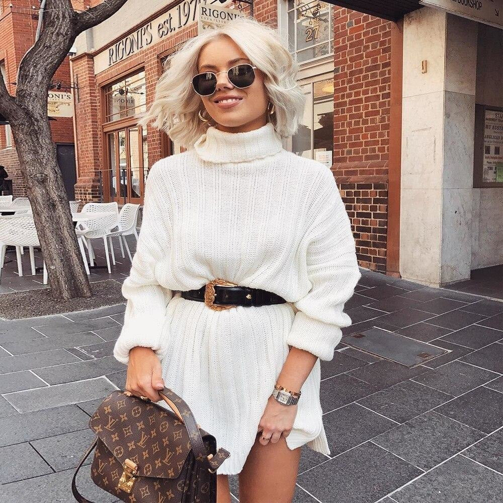 Oversized Casual Sweater Dress - White / S