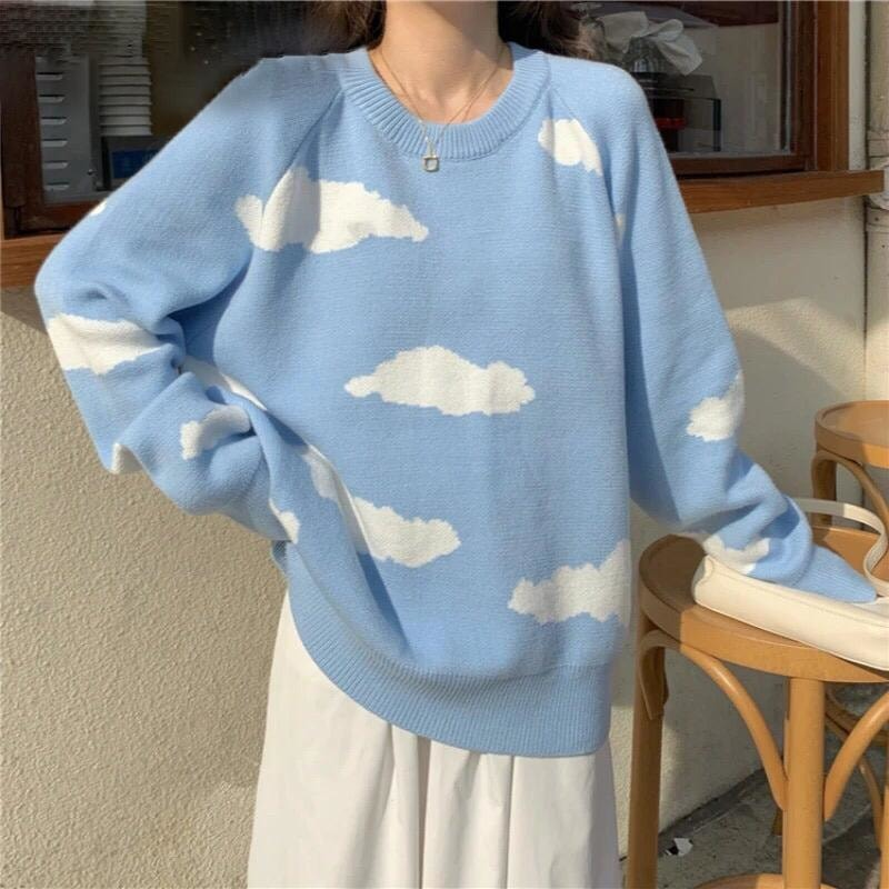 Oversized Cloud Print Sweater