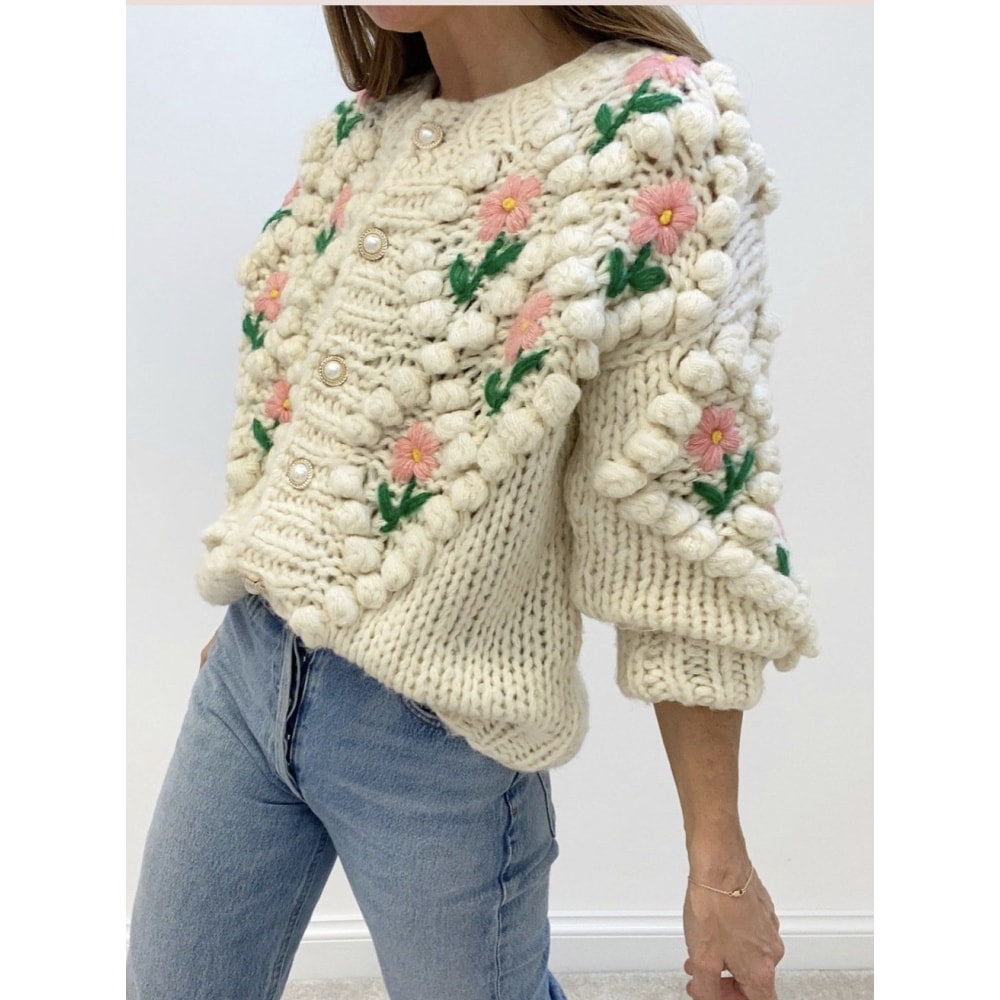 Pearl Button Cable Knit Sweater