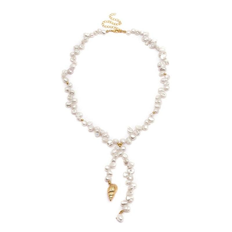 Pearl&Shell Wrap Necklace