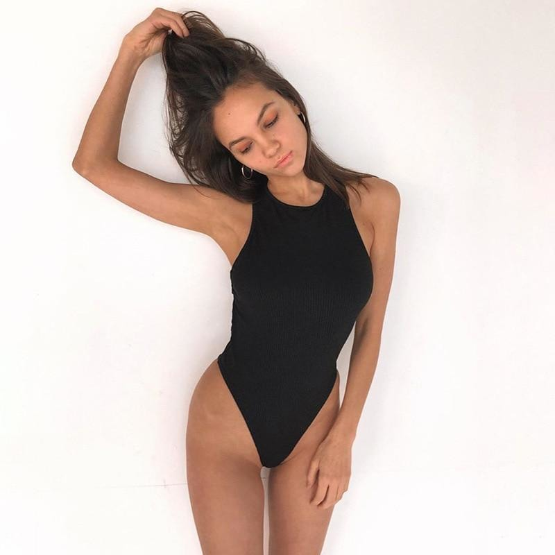 Ribbed Cross Back Bodysuit