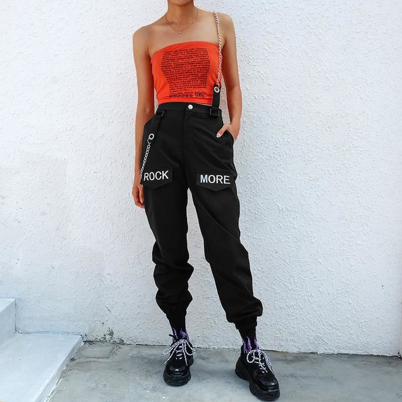 Rock More Letter Hip Hop Patchwork Chains Pants - At Boujee's