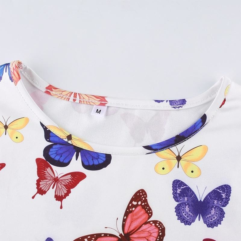 Rosalee Butterfly Print Crop Top - At Boujee's