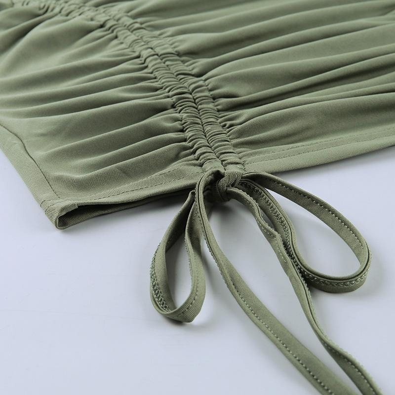 Ruched Olive Top