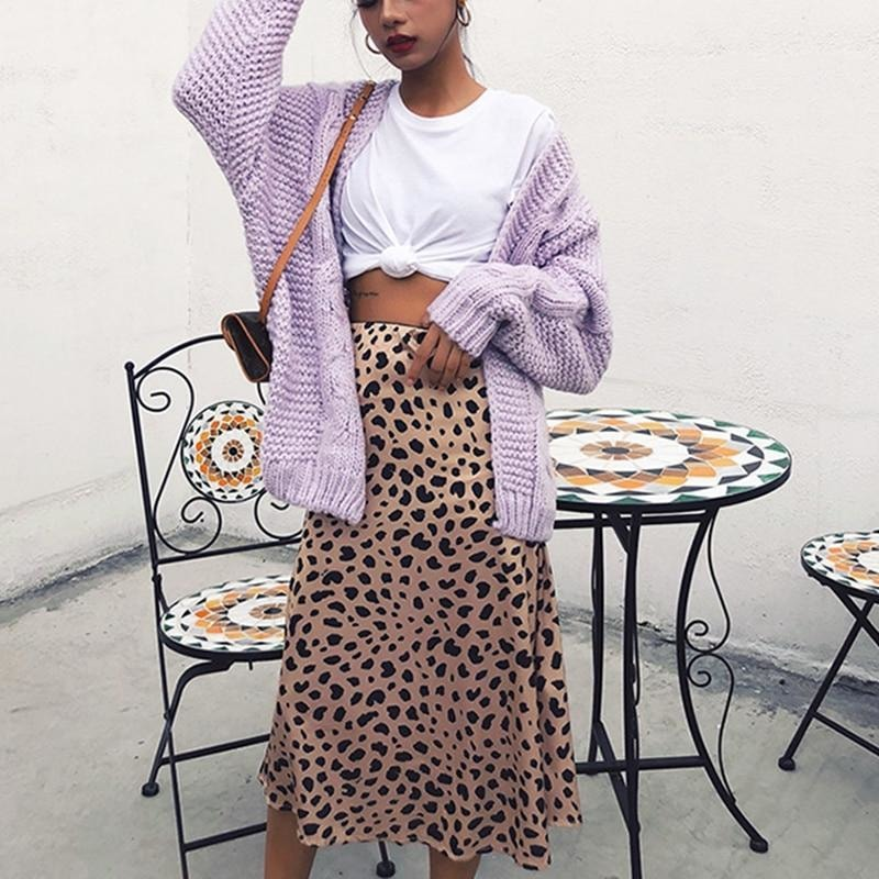 Satin Leopard Print Skirt - At Boujee's