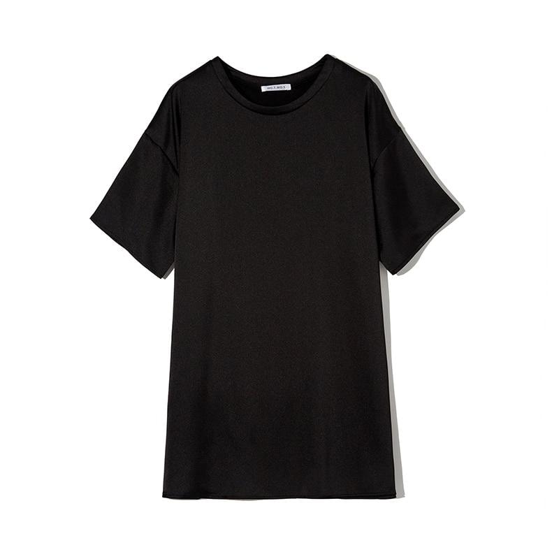 Sienna Silky Oversized Shirt - Black / S