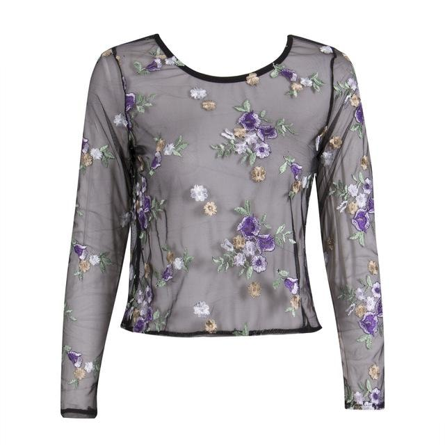 Simone Flower Mesh Blouse - At Boujee's