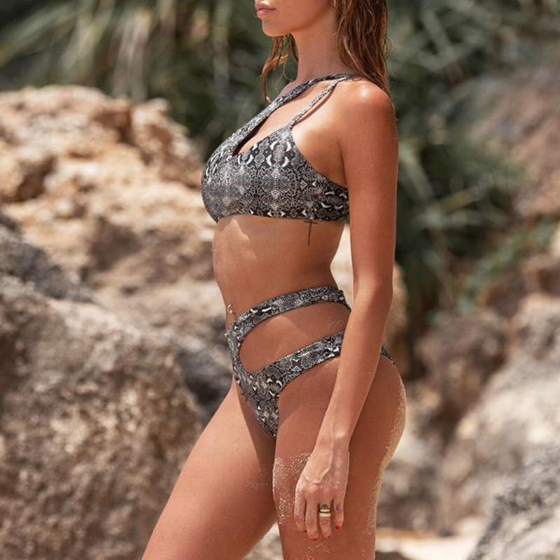 Snake Print One Shoulder Set - At Boujee's