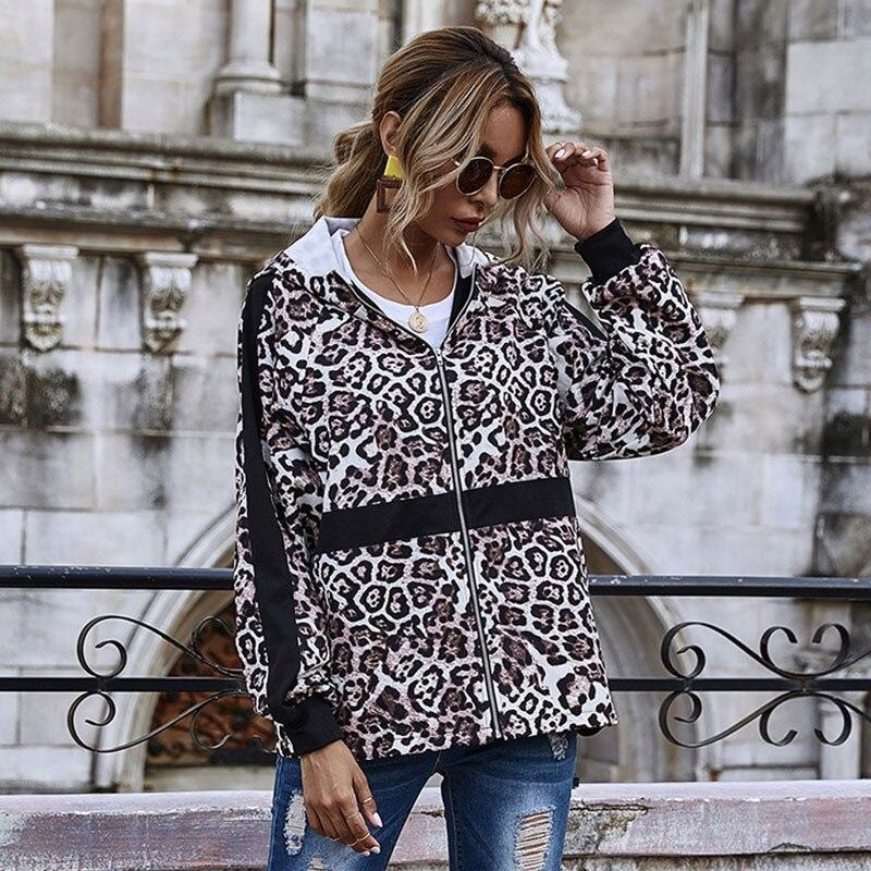 Zip Through Leopard Print Jacket