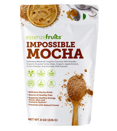 Vegan Mocha Latte Superfood - Clean Label Organic Ingredients, Energy Booster, Antioxidant, PreBiotic Fibers, Gluten Free, Dairy Free, Plant Based - Perfect for Shakes, Smoothies and Hot Lattes - EssenzeFruits