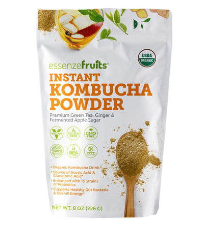 Kombucha On The Go - Instant Kombucha Powder Super Drink - Just Add Water Mix and Drink - Premium Probiotic & Prebiotic Drink Mix, Delicious, No Sugar Added, Clean Label - Makes 17 up to 34 cups - EssenzeFruits Essenze Fruits Natural Superfood Organic Gluten Free Vegan super food