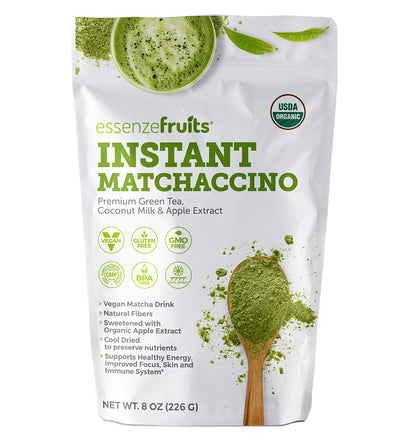 Instant Premium Organic Matcha Latte - Perfect Blend of Matcha & Coconut Milk - Increases Energy. Antioxidant, Gluten Free, Vegan (Shakes, Smoothies, Lattes, Baking) - EssenzeFruits